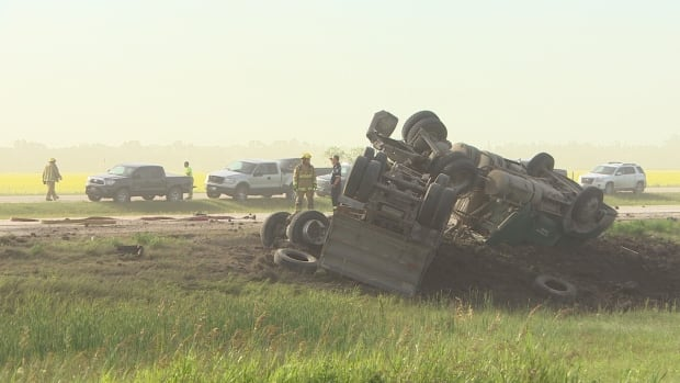 The driver of a semi-trailer dump truck and semi-trailer truck died in a crash east of La Salle, Man., on Monday morning.