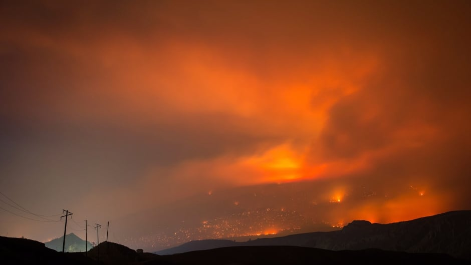 A wildfire burns on a mountain in the distance, east of Cache Creek, B.C., in the early morning hours of Monday July 10, 2017. (Darryl Dyck/Canadian Press)