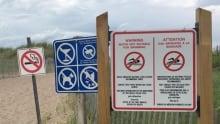 Parlee Beach, no swimming sign