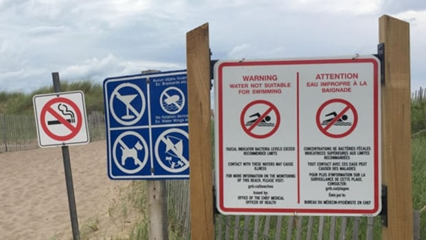 Parlee Beach, no swimming sign