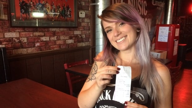 Melissa Lombardo, 22, says she will use the $1,000 tip to further her singing career.