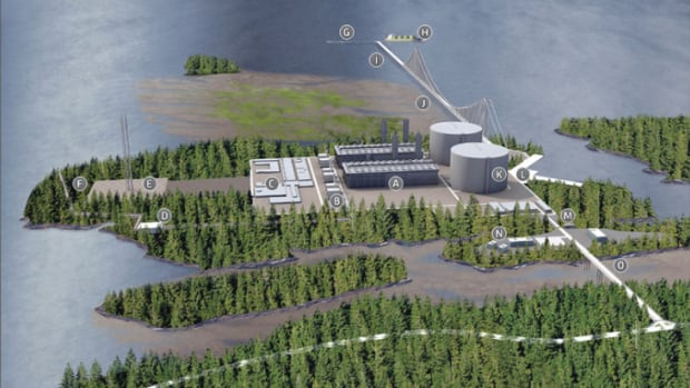 An artist's rendering of the proposed Pacific NorthWest LNG plant near Prince Rupert, B.C.
