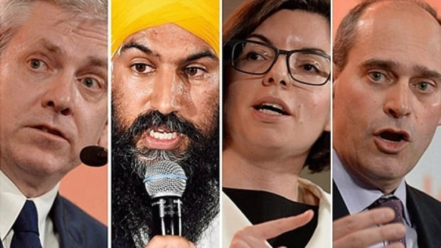 Charlie Angus, Jagmeet Singh, Niki Ashton and Guy Caron are vying for the NDP leadership. They faced off in Saskatoon Tuesday sparring over climate change and pensions ahead of the party's October leadership vote.