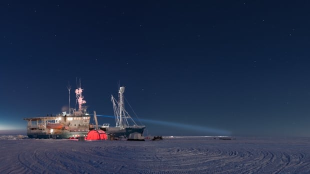The research vessel Lance sits in the Arctic sea ice on 17 February 2015.