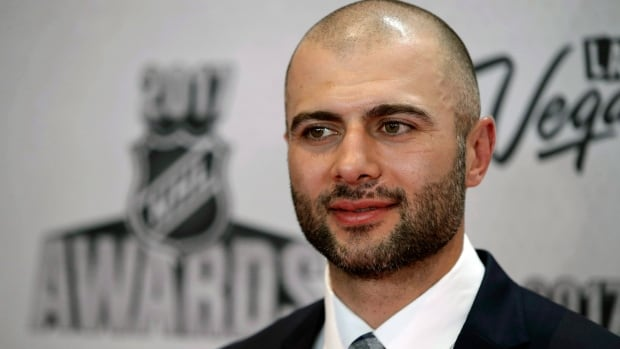 The Calgary Flames' Mark Giordano poses before the NHL Awards on June 21, 2017, in Las Vegas. On Tuesday, he received the the newly named Muhammad Ali Sports Humanitarian Award at a ceremony in L.A.