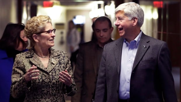 Ontario Premier Kathleen Wynne met with Michigan Gov. Rick Snyder in Detroit in March, 2017, as part of her outreach to U.S. governors.