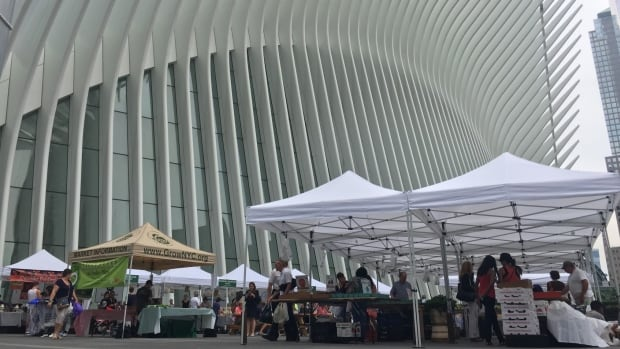 Located beside the Oculus and the World Trade Center transit hub, the new farmers' market returns to the site after 16 years under heavy security, both for patrons and the farmers, who undergo rigorous screening before setting up.
