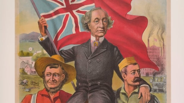 Conservative campaign poster from 1891 featuring Prime Minister John A. Macdonald.