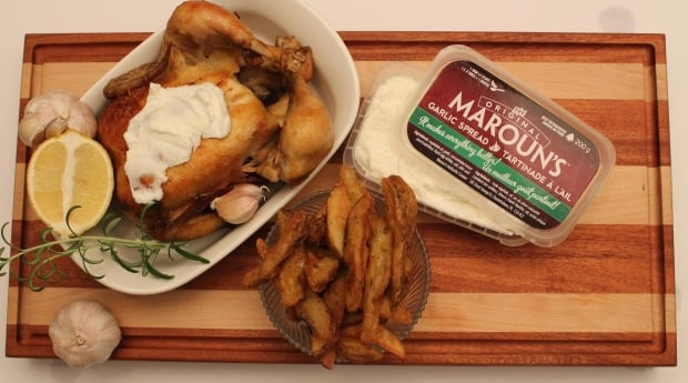 Maroun's Garlic Spread with a whole chicken and fries