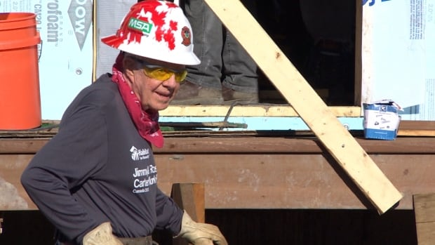 Jimmy Carter was on the Habitat build site for about an hour before he began to feel unwell on Thursday morning.
