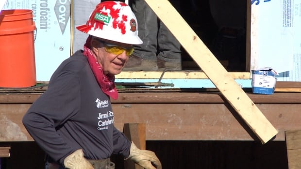 Jimmy Carter was on the Habitat build site for about an hour before he began to feel unwell on Thursday morning. (CBC)