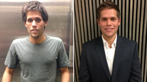 Tyler Wiebe before and after receiving a liver transplant that saved his life.
