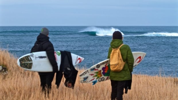 Surfers Noah Wegrich and Noah Cohen get ready to hit the waves in Iceland for the film Perilous Sea, shot in the North Atlantic.