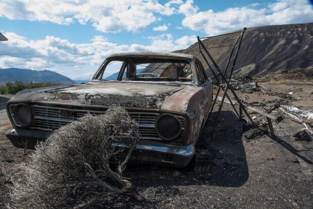 Burnt car Ashcroft wildfire