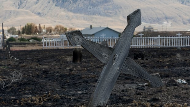 Residents of Ashcroft Indian Band reserve return to rubble on July 13, after wildfire destroys 12 of 32 homes in community. The fire erupted July 6 in the close-knit First Nation community of 76 people, located less than a 100 km away from Kamloops. (Tina Lovgreen/CBC)