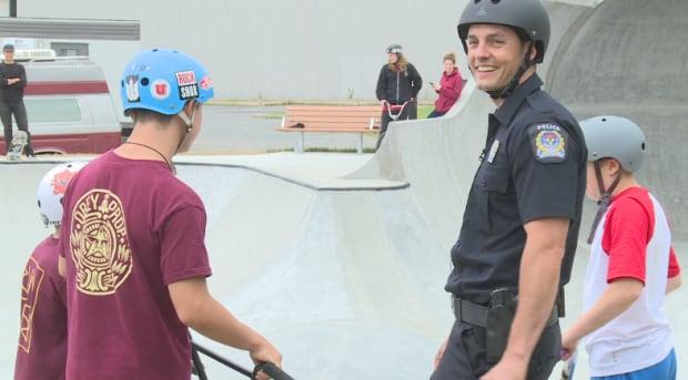 skateboarding cop