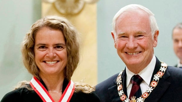 Governor General designate Julie Payette stands with outgoing Governor General David Johnston in this photo taken in 2011.