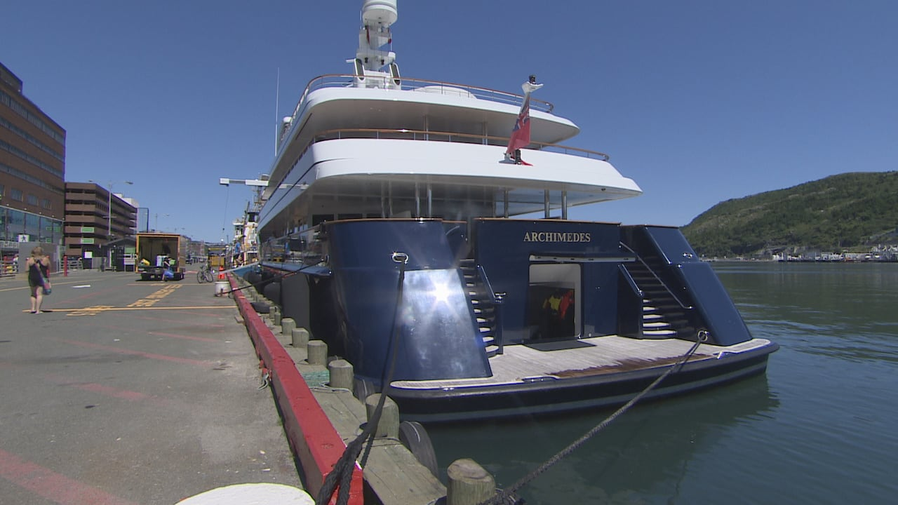 Who owns that? $100M luxury yacht anchors in St  John's