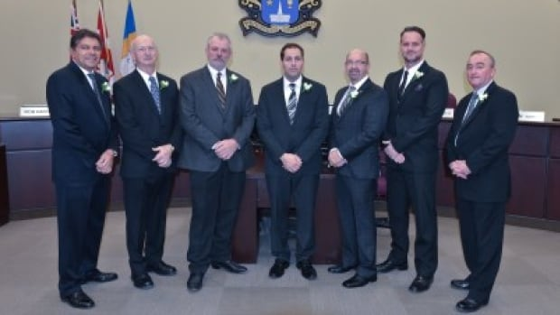 Whitchuch-Stouffville Mayor Justin Altmann (centre), and his fellow councillors on town council.