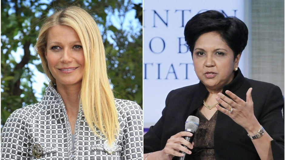 Actress and founder of the Goop lifestyle brand Gwyneth Paltrow (left) and PepsiCo CEO Indra Nooyi (right).