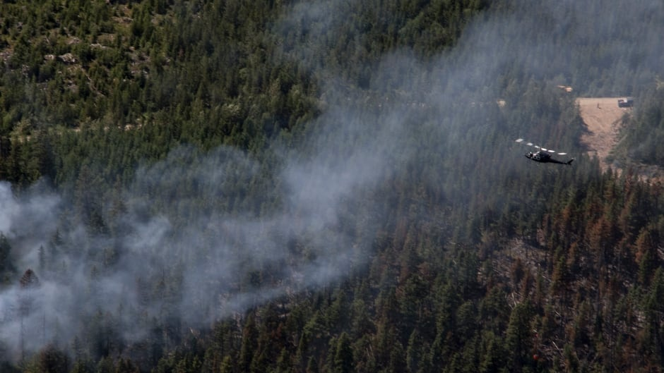BC wildfire helicopter Little Fort