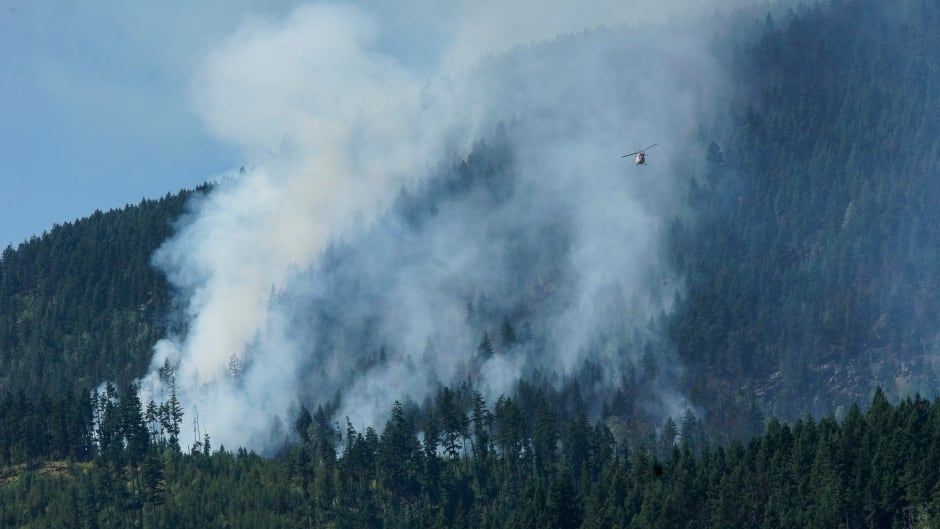 Helicopter at Little Fort Fire BC Wildfire