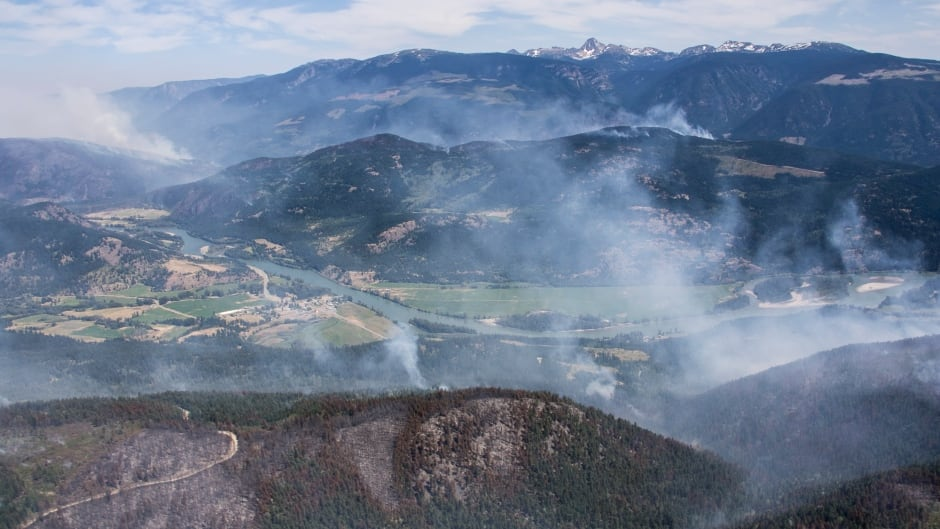BC Wildfire Little Fort Fire From Above Helicopter