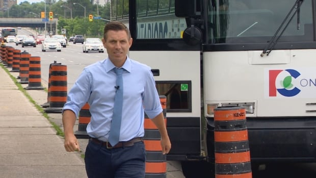 Ontario Progressive Conservative Leader Patrick Brown walks on Lawrence Avenue East before speaking to the media. He promised to tighten lobbying rules if elected premier to limit the political activities of former provincial government staff.