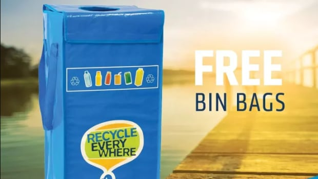 A blue recycling bag giveaway in Falcon Lake was part of the Canadian Beverage Container Recycling Association's Recycle Everywhere initiative