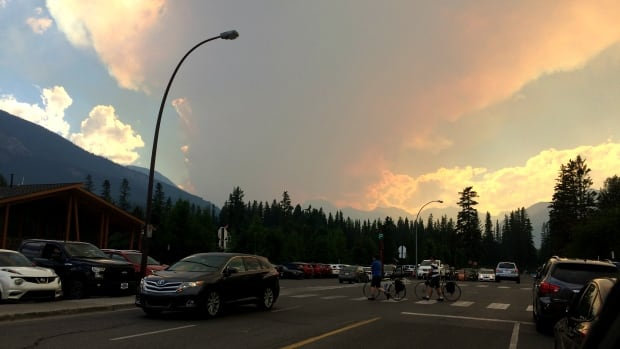 Smoke can be seen from a fire burning in the Verdant Creek area of Kootenay National Park.