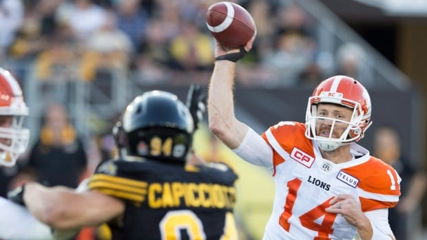 Travis Lulay throws for yards and touchdowns in the B.C. Lions' - victory over the Hamilton Tiger-Cats on Saturday evening.