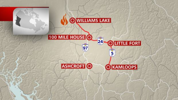 Williams Lake wildfire map