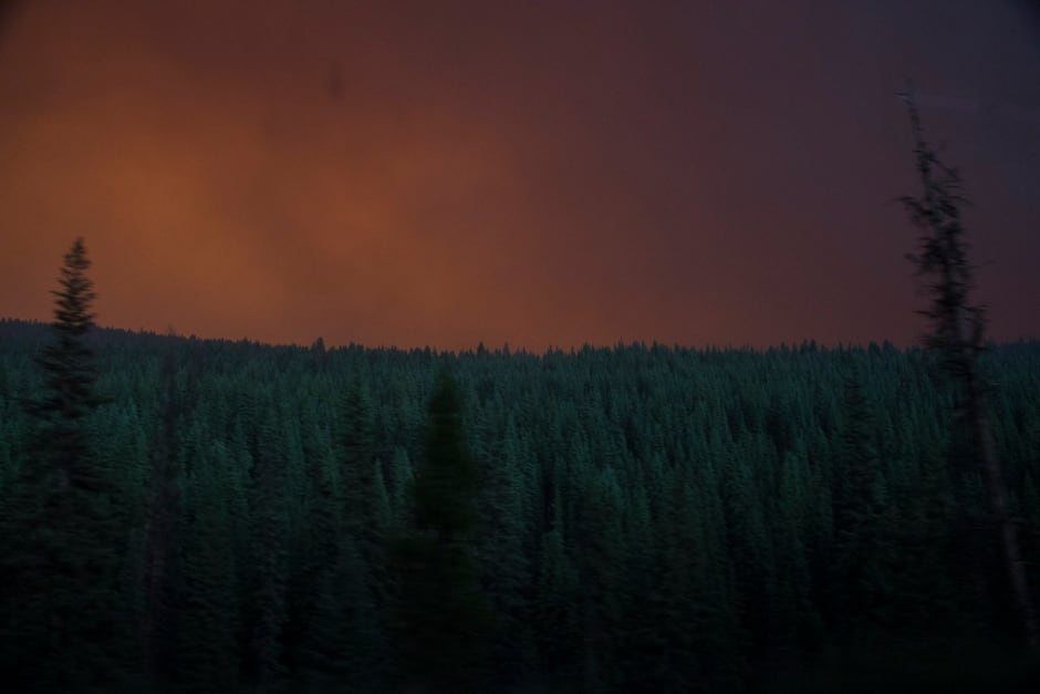 BC Wildfire Red Sky Smoke