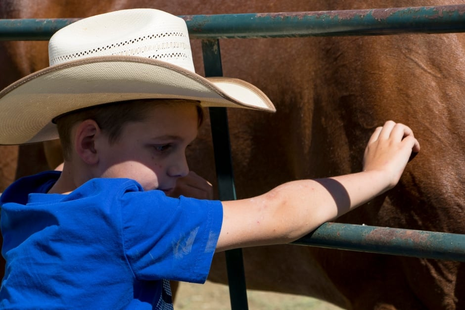 BC Wildfire Wyatt Deeter Pets his Horse