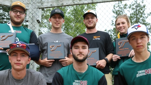 Seven member of the Taymouth Tigers softball program, (from left to right, back to front) Ashley Woodcock, Andrew Dodds, Eric Young, Abigayle Young, Tegan Chisholm, Cole Spilman and Jaydon Weese, will compete for Team New Brunswick at the 2017 Canada Games.