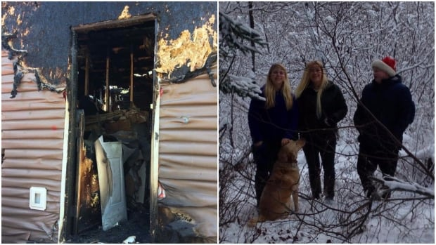 Marcy Smith of Glovertown, N.L., says she's proud of her son for stepping in to ensure his sister and mom escaped the fire that burned down her house overnight Friday.