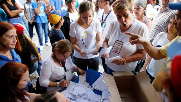 Volunteers count the ballots after the poll station closed during a referendum in Caracas, Venezuela, on Sunday. Venezuela's opposition called for a massive turnout as a symbolic rejection of President Nicolas Maduro's plan to rewrite the constitution.