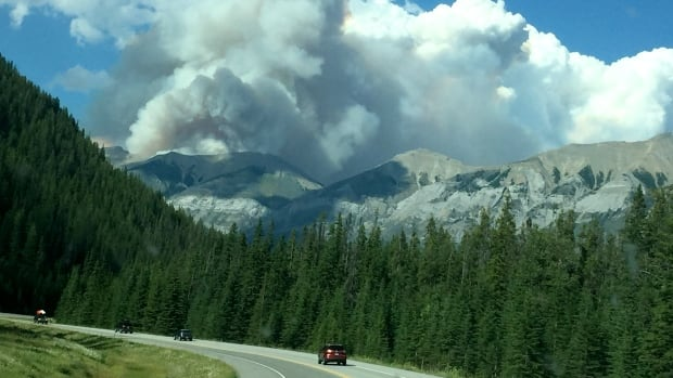 Smoke can be seen from the Verdant Creek fire in Banff and Kootenay National Parks.
