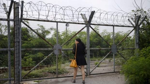 A Chinese tourist looks over a barbed-wire fence at the Imjingak pavilion near the demilitarized zone which separates the two Koreas, in Paju, South Korea.