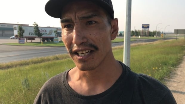 David Fineday is travelling by hitchhiking on Saskatchewan's Highway 11.