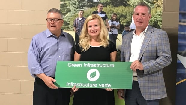 Ralph Goodale, Minister of Public Safety and Emergency Preparedness, Pilot Butte Mayor Peggy Chorney and Indian-Head-Milestone MLA Don McMorris at Monday's announcement.