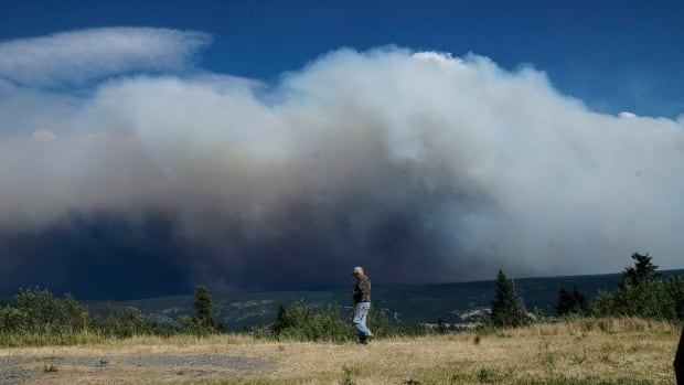 A man walks along the roadside between Clinton and Kamloops, B.C., on July 15, 2017, as smoke from a nearby wildfire billows in the background.