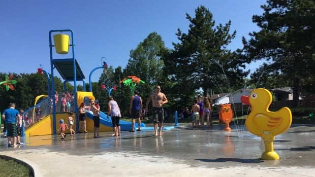 """The splash pad, dubbed """"Thunder Canyon"""" is the newest addition to North End Park."""