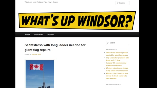 A screenshot of the What's Up Windsor homepage on July 17, 2017.