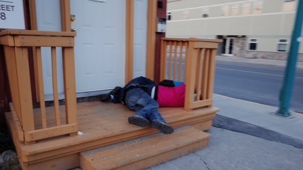 Two people sleep it off in Yellowknife on July 7, 2017. A new street outreach program launched by the City of Yellowknife and partners means those who want a safe place to sober up now have one, as well as a way to get to it.