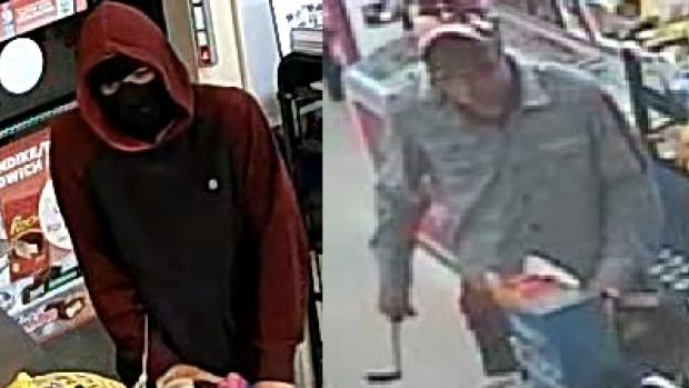Windsor police are looking for two men who robbed two convenience stores early Monday morning in the city's east end.
