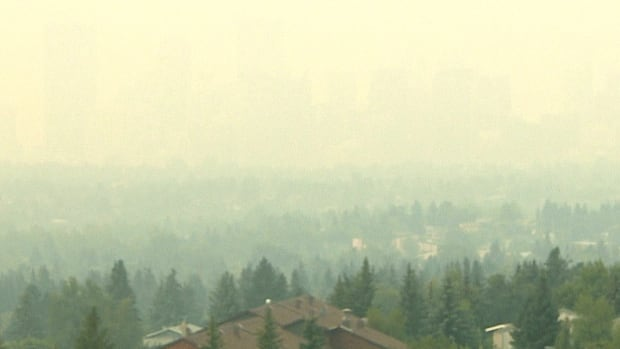 This photo shows downtown Calgary from the northwest with smoke from the B.C. wildfires. The smoke is now making its way into Manitoba.