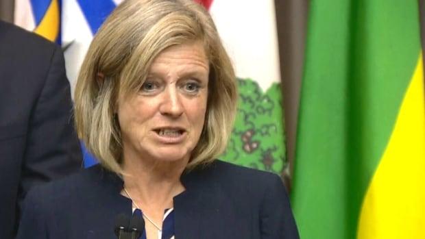 Alberta Premier Rachel Notley speaks to media following a meeting with Indigenous leaders in Edmonton Monday.