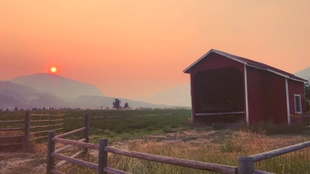 Wildfire smoke makes for a hazy sunrise in Trail, B.C., on July 18, 2017.
