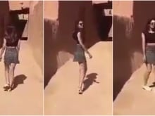 Three stills taken from an online video of the Saudi Arabian model Khulood, who was arrested for wearing 'immodest clothing' after the clip went viral over the weekend of July 15, 2017.